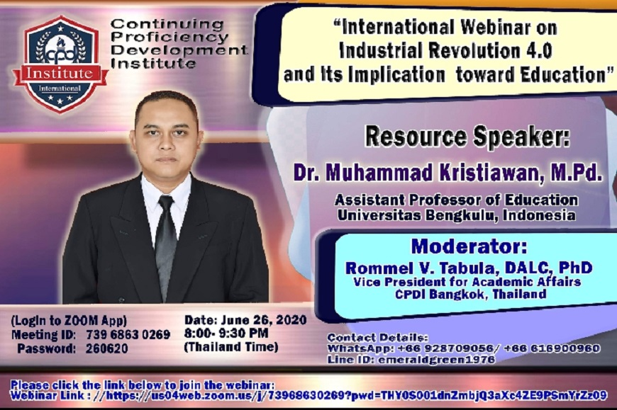 Dosen FKIP Universitas Bengkulu menjadi Keynote Speaker Tunggal pada International Webinar of Industrial Revolution 4.0 and Its Implication toward Education
