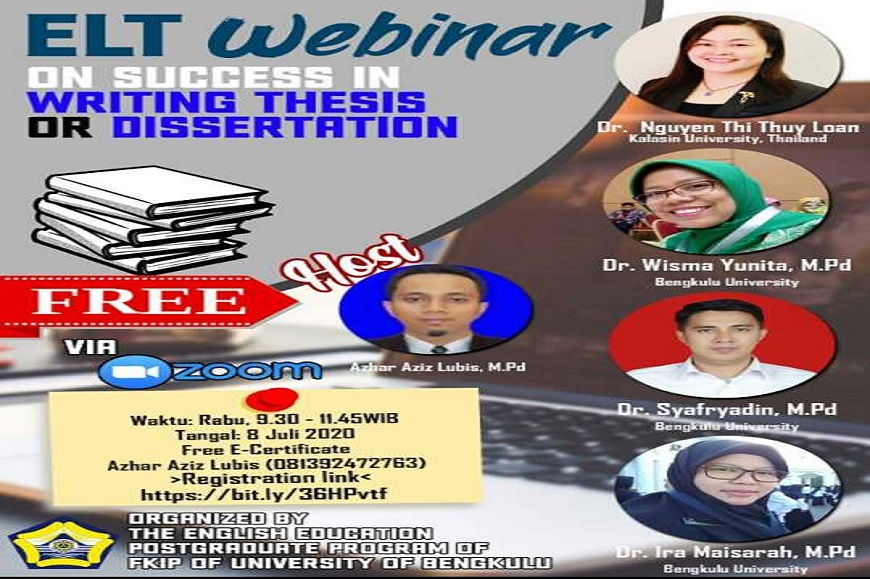 Program Studi Magister Pendidikan Bahasa Inggris Melaksanakan ELT Webinar on Succes in Writing Thesis or Disertation