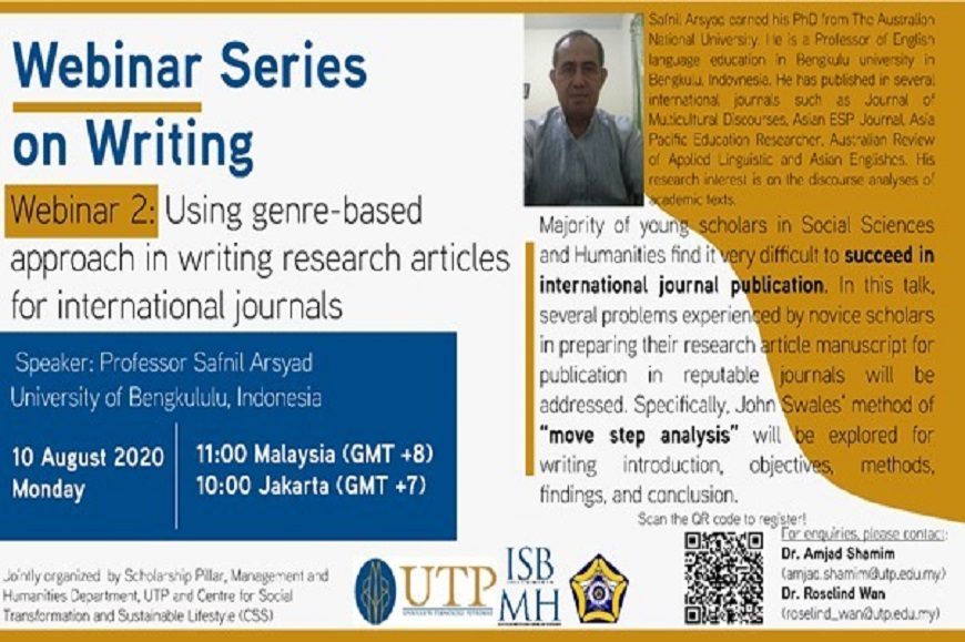 Webinar Series on Writing: Using Genre-Based Approach in Writing Research Articles for International Journals